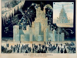 Palais de glace et Condora, carnaval de Montréal en 1885.