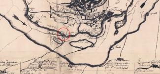 Extrait de la carte de l'île de Montréal de 1702 montrant l'emplacement du fort de Verdun.