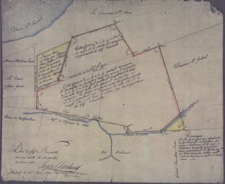 Plan annoté du fief Nazareth, bordé de rouge, «sur une échelle de 16 perches au pouce», daté de 1805.