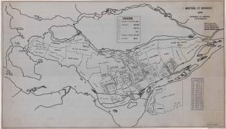 Plan qui montre les annexions successives réalisées par la cité de Montréal, en spécifiant pour chaque municipalité incorporée sa superficie et la date d'annexion.