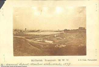 Vue du réservoir McTavish en 1873.