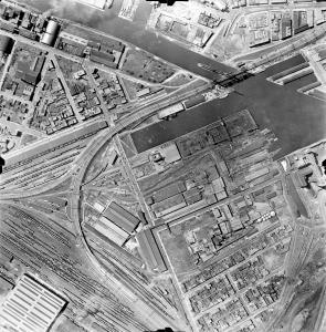 Vue aérienne d'une cour d'aiguillage