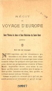 Page du Récit du voyage d'Europe de sœur Thérèse de Jésus et sœur Madeleine du Sacré-Cœur publié en 1889