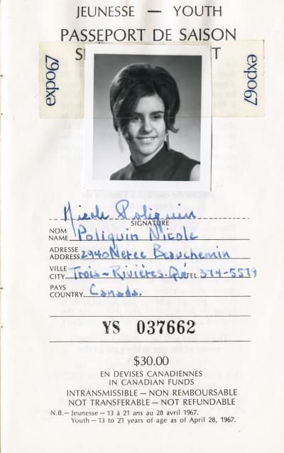 Page couverture du passeport Expo 67 de Nicole Poliquin
