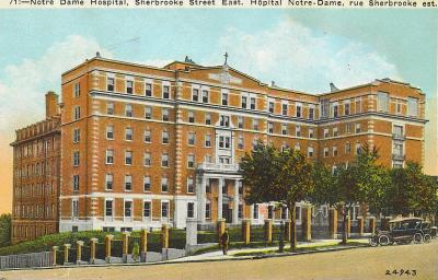 Carte postale montrant l'hôpital Notre-Dame rue Sherbrooke Est.