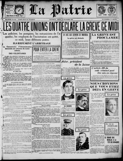 """Une du journal La Patrie du 12 décembre 1918 avec en titre """"Les quatre unions ont déclaré la grève ce midi"""""""
