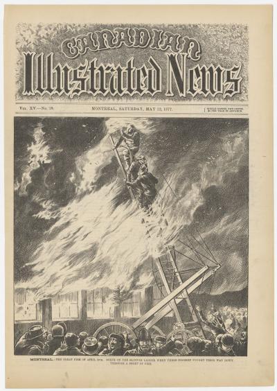 Illustration en page couverture de journal d'un bâtiment en flammes et de pompiers dans une échelle.