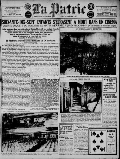 Une du journal La Patrie du 10 janvier 1927