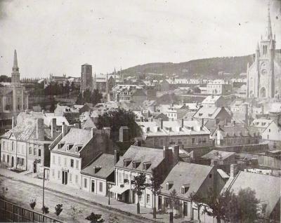 Daguerréotype représentant une vue ancienne de Montréal en 1852.