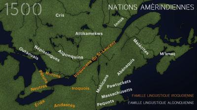Carte montrant l'emplacement des différentes nations amérindiennes