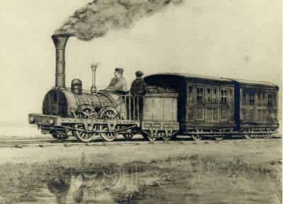 Gravure illustrant le premier chemin de fer et une locomotive avec deux employés.