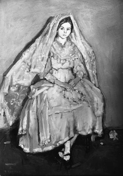 Peinture d'Emily Coonan représentant une femme en noir et blanc