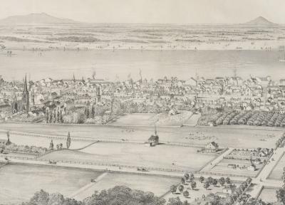 Plan rapproché du cimetière Saint-Antoine d'après une vue panoramique de Montréal depuis le mont Royal.