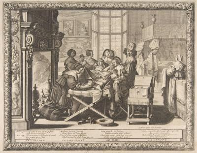 Gravure ancienne montrant un accouchement