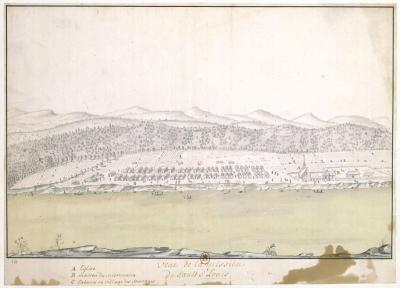 Dessin représentant la mission amérindienne du Sault-Saint-Louis dans les années 1670.