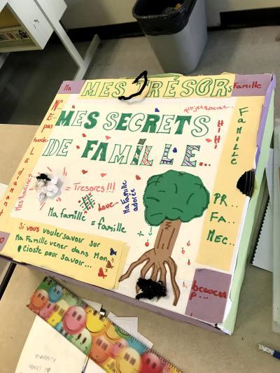 Une boite bricolée sur laquelle on peut lire : « Mes trésors de famille ». Un arbre est représenté.