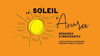 Illustration d'un soleil avec le titre du documentaire, le nom du réalisateur et de neuf femmes.