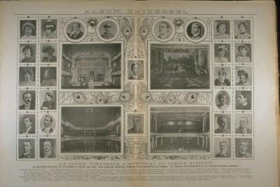 Diverses images des scènes, des salles et des artistes du théâtre des Nouveautés (sur la page de gauche) et du théâtre national (sur la page de droite).