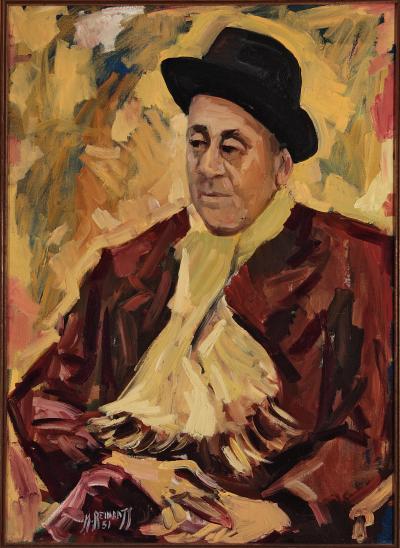 Représentation d'Alexander Bercovitch avec manteau brun, foulard et chapeau noir.