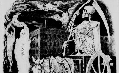 Dessin représentant la Mort chevauchant à travers les rues de Montréal, la nuit, accompagnée des spectres du choléra, de la fièvre et de la variole.