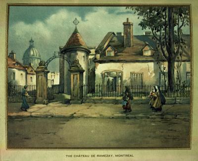 Représentation du Château Ramezay entouré de clôtures, de passantes dans la rue et du toit en dôme du marché Bonsecours.