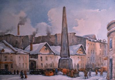 Photographie d'une peinture montrant l'obélisque commémorant la fondation de Montréal par Chomedey de Maisonneuve sur la place D'Youville vers 1930.