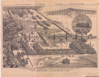 Vue à vol d'oiseau des terrains de l'exposition provinciale à Montréal en 1881.