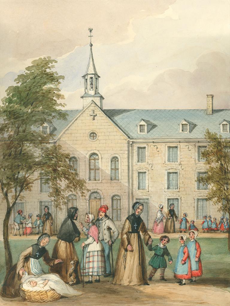 Aquarelle de l'Hôpital général avec des Sœurs grises, des enfants et des personnes âgées