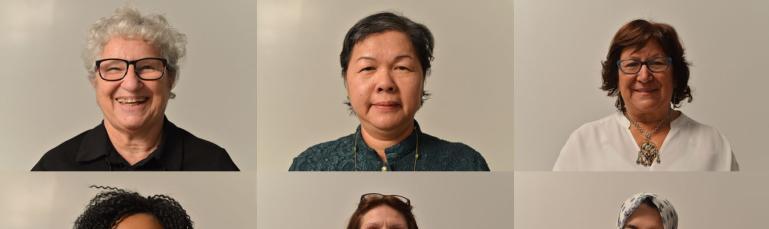 Photos de neuf femmes en plan rapproché