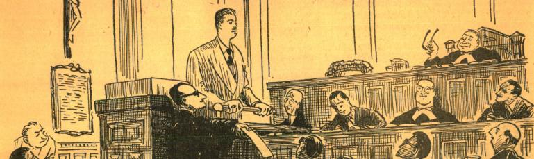 Dessin judiciaire représentant une salle de cour avec le juge et différents personnages.