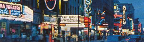 Carte postale colorisée montrant la rue Sainte-Catherine de nuit avec les néons.