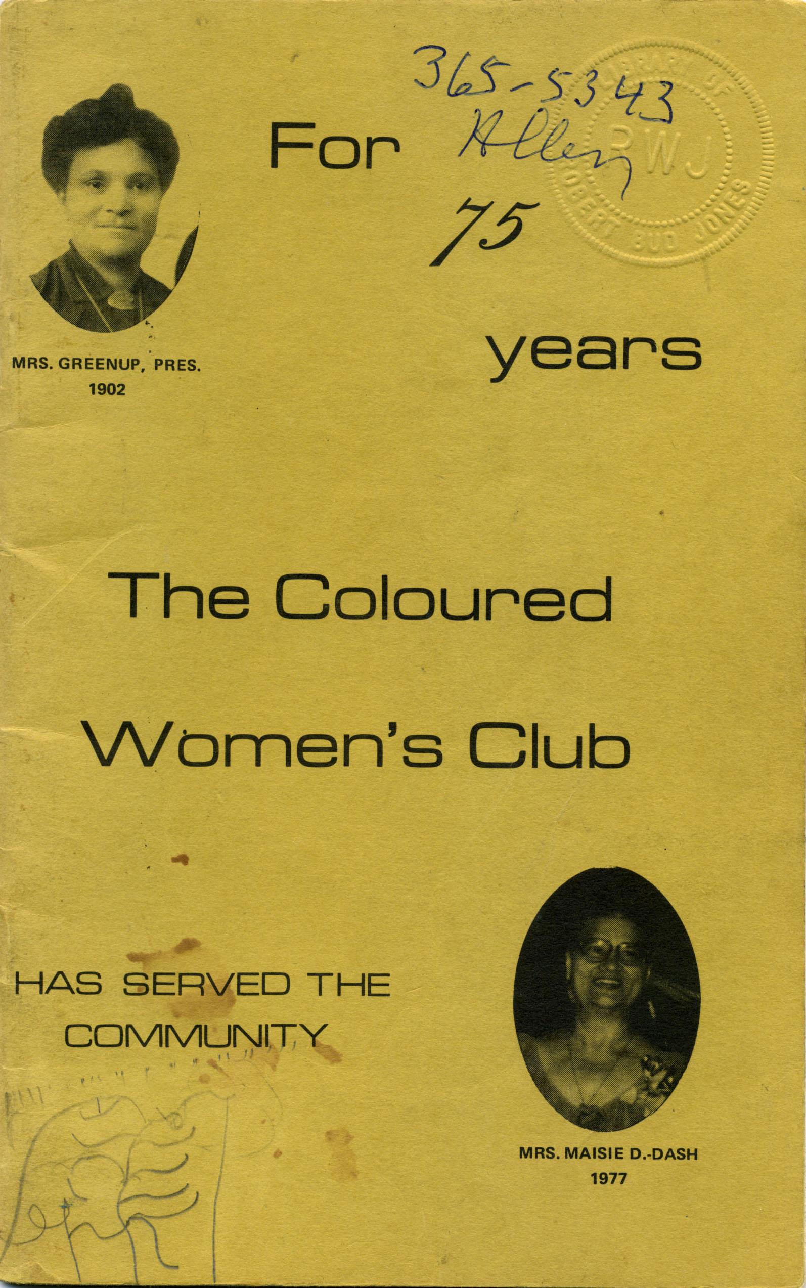 Page couverture d'une brochure célébrant les 75 ans du Coloured Women's Club.