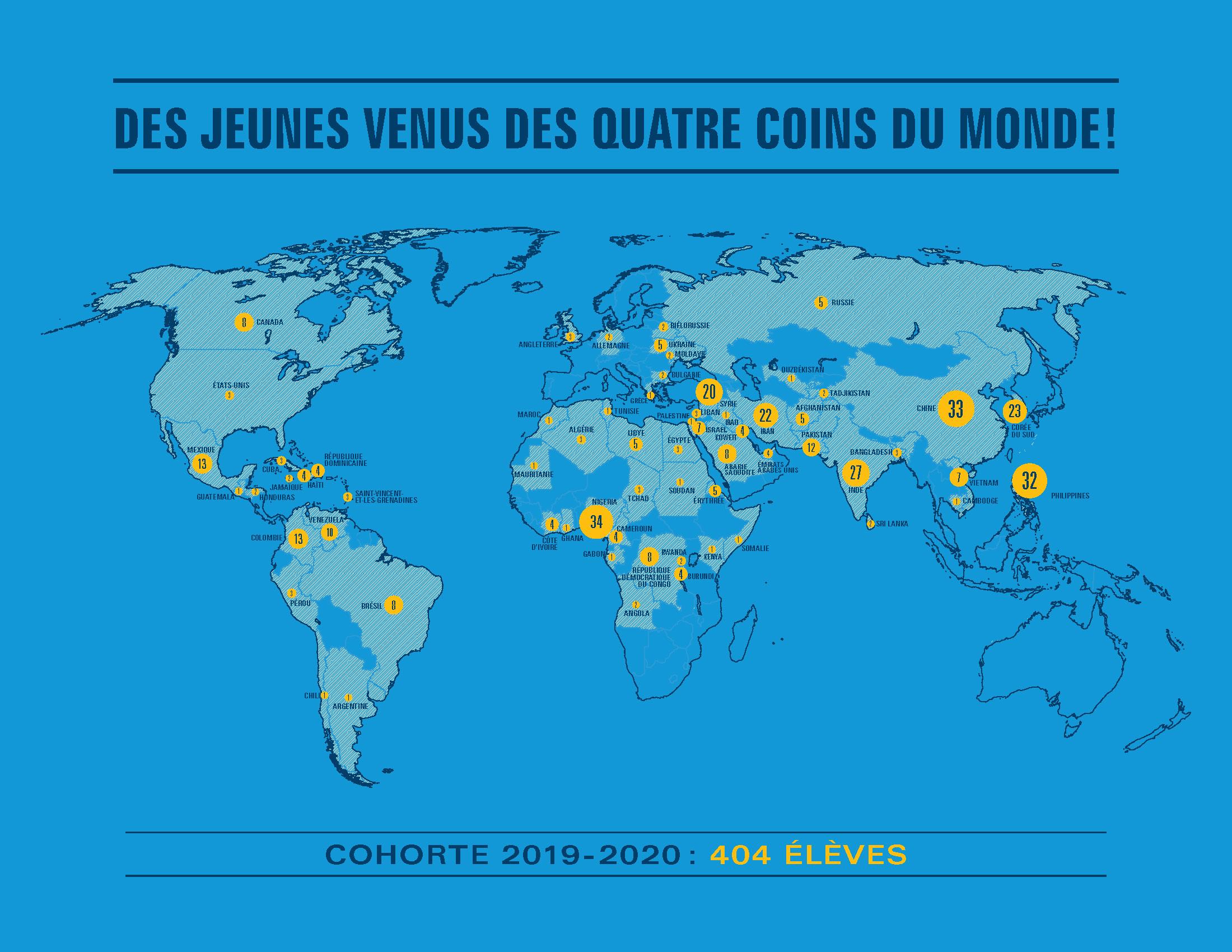 Mappemonde des pays d'origine des élèves ayant participé au projet Vous faites partie de l'histoire! en 2019-2020.