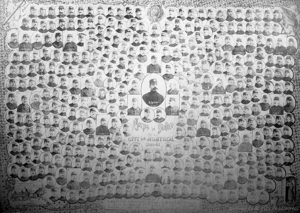 Mosaïque de photographies en noir et blanc où on peut voir le portrait de plusieurs policiers dans des médaillons. En haut et au centre, on peut voir les armoiries de Montréal.