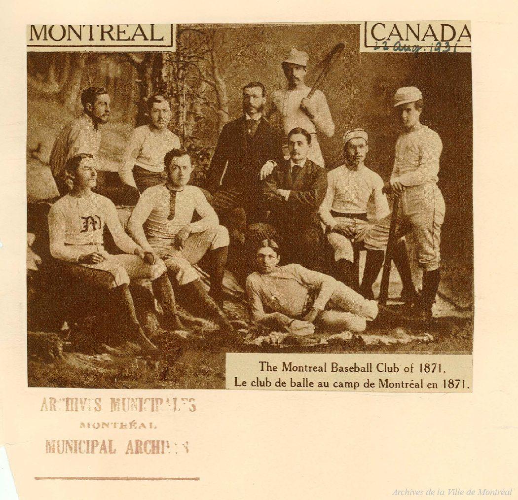 Photo d'une équipe de baseball de Montréal de 1871.