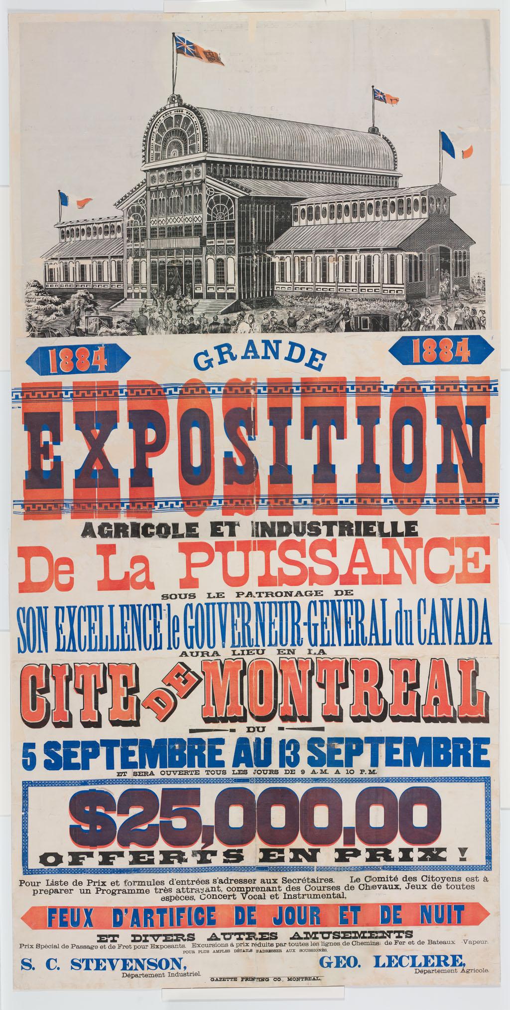 Affiche de la Grande Exposition Agricole et Industrielle de la Puissance du Canada de 1884.