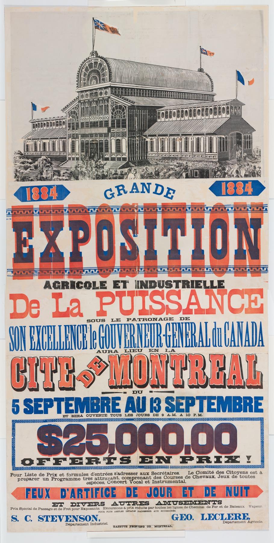 Affiche de la grande exposition agricole et industrielle qui a lieu en 1884 à Montréal