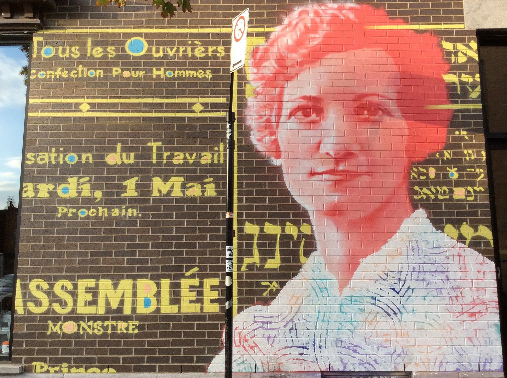 Murale en homme à Léa Roback, à l'intersection de l'avenue du Mont-Royal et de la rue Saint-Dominique.