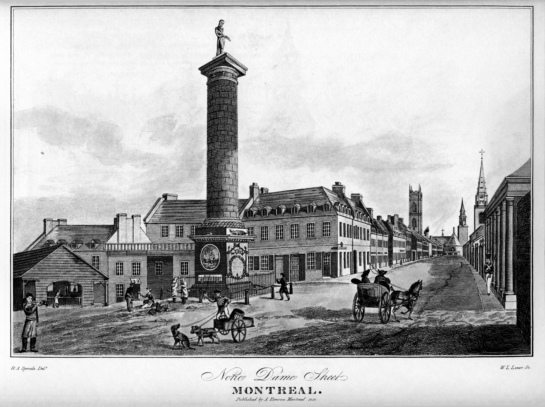 La rue Gravure de la rue Notre-Dame montrant la colonne Nelson en 1830.