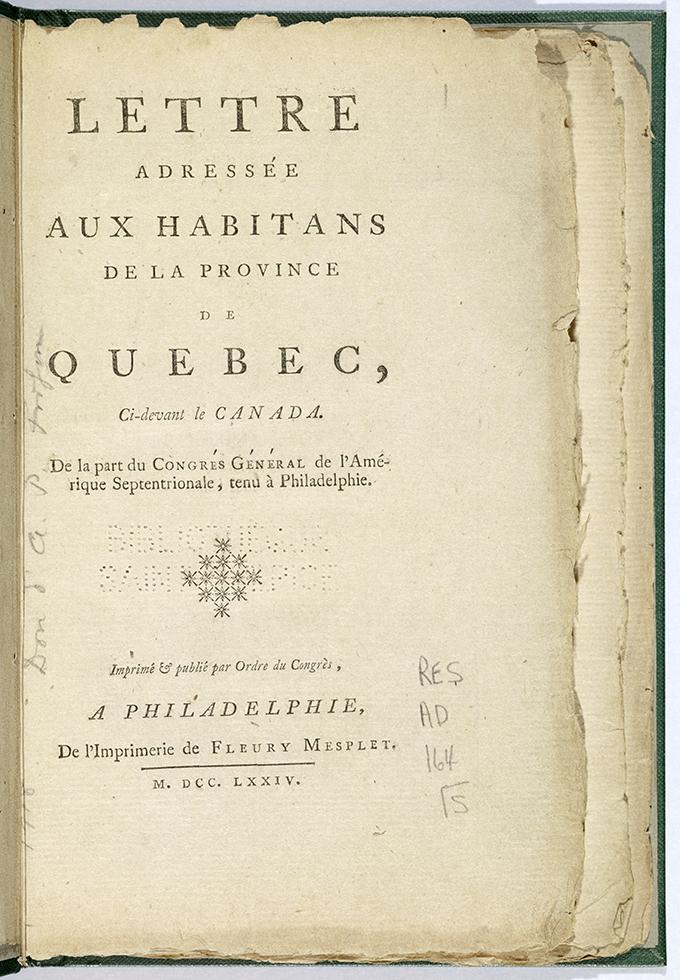 Page couverture de la lettre adressée aux habitants de la province de Québec