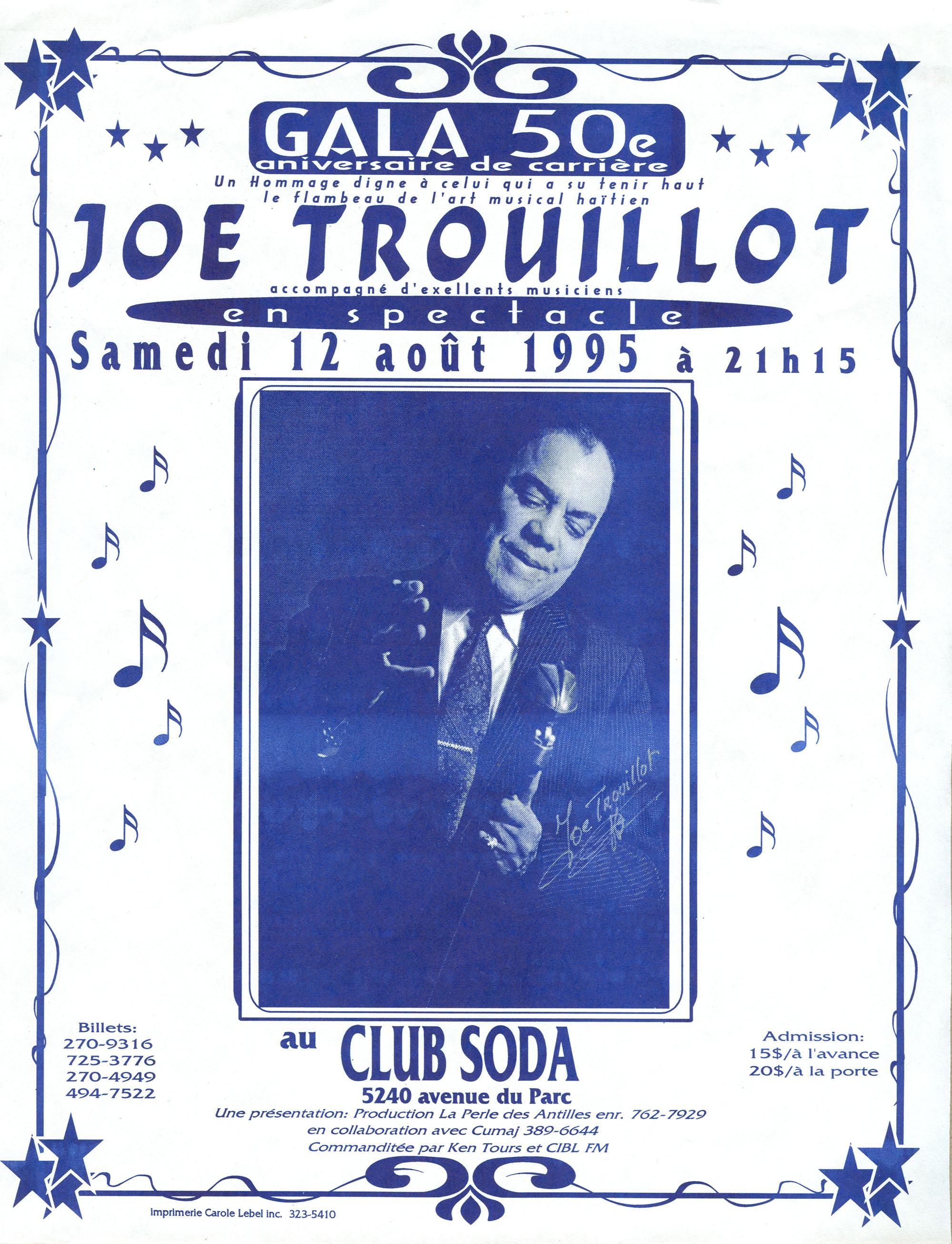 Affiche du gala du 50e anniversaire de carrière de Joe Trouillot