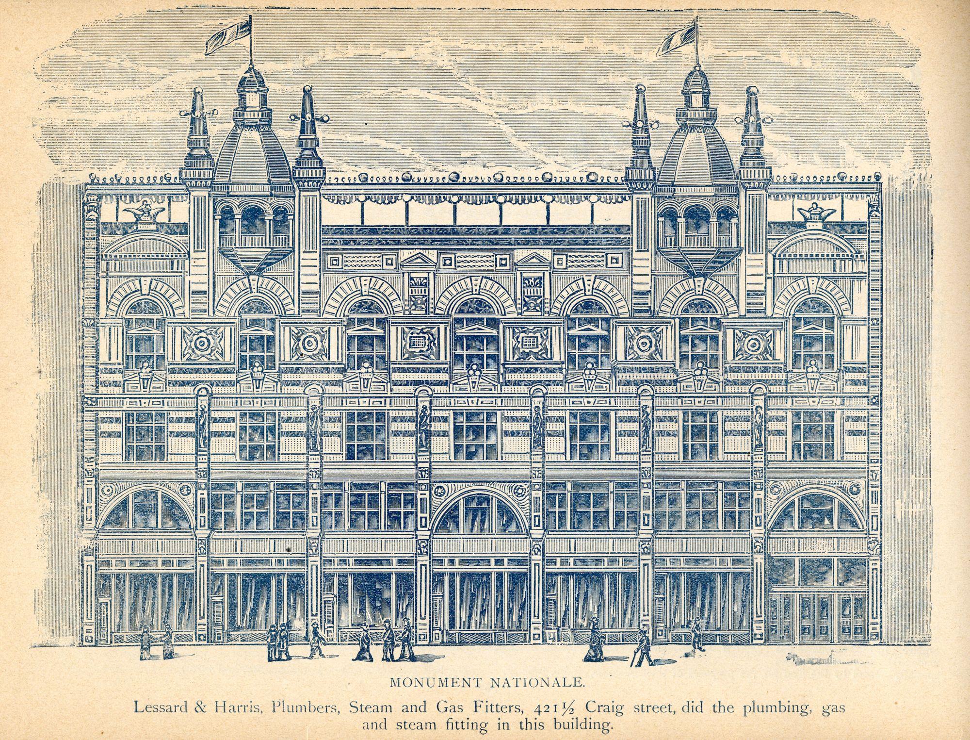 Estampe illustrant la façade du bâtiment du Monument-National tel qu'il apparaissait peu après son érection en 1893