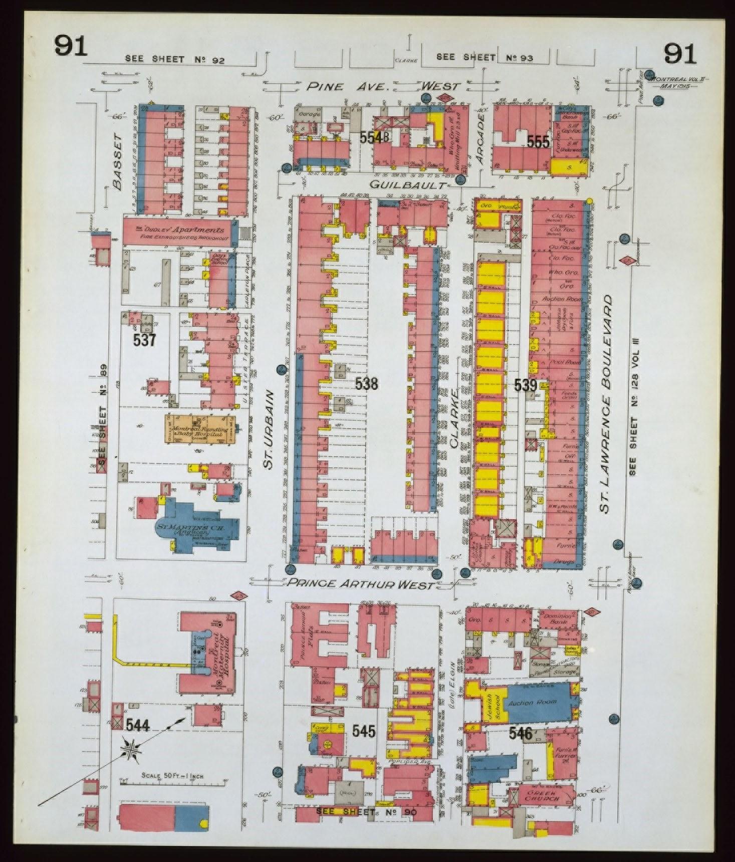 Plan montrant le quartier où était située l'église Evangelismos