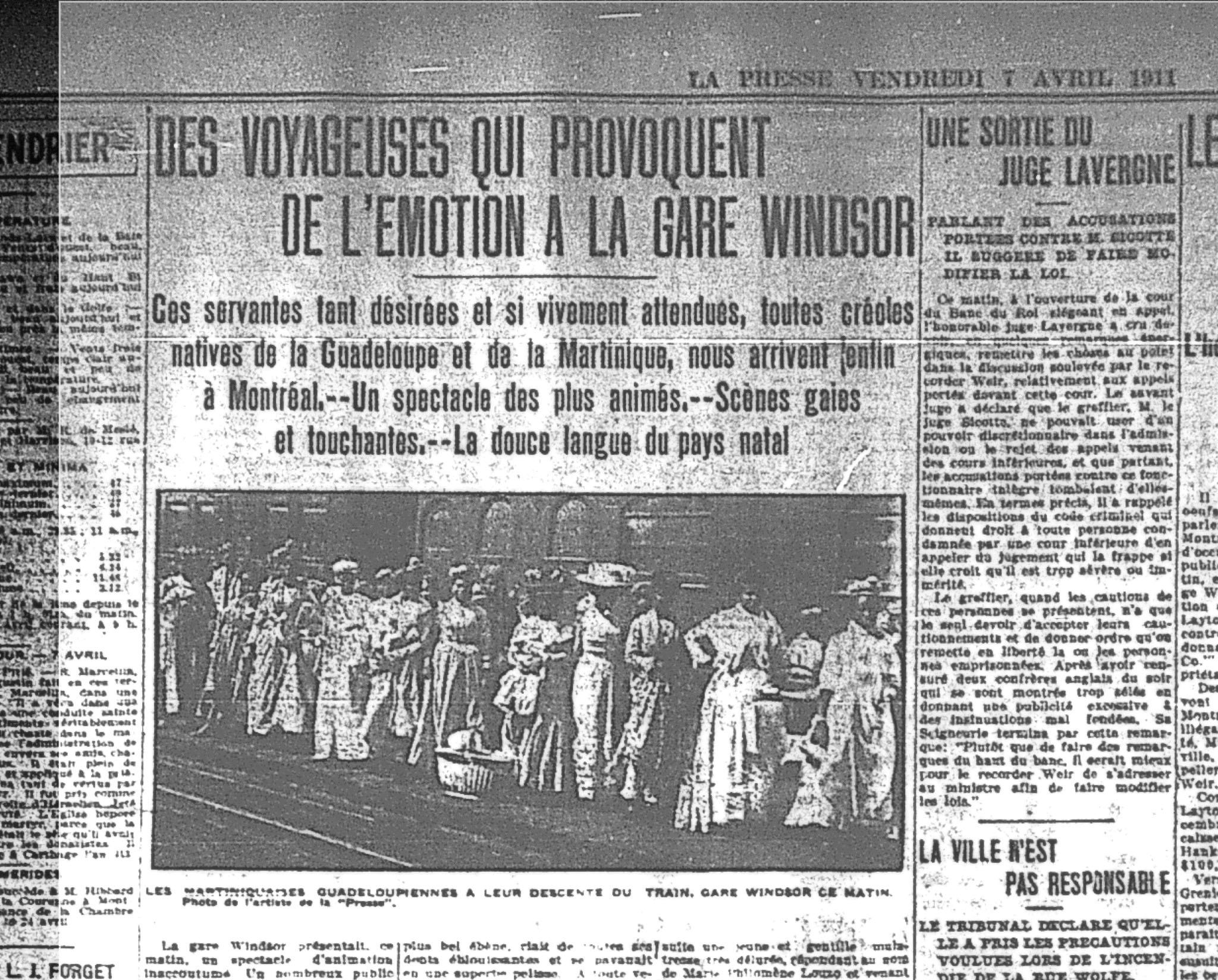 L'arrivée de domestiques caribéennes est annoncée dans La Presse du 7 avril 1911.