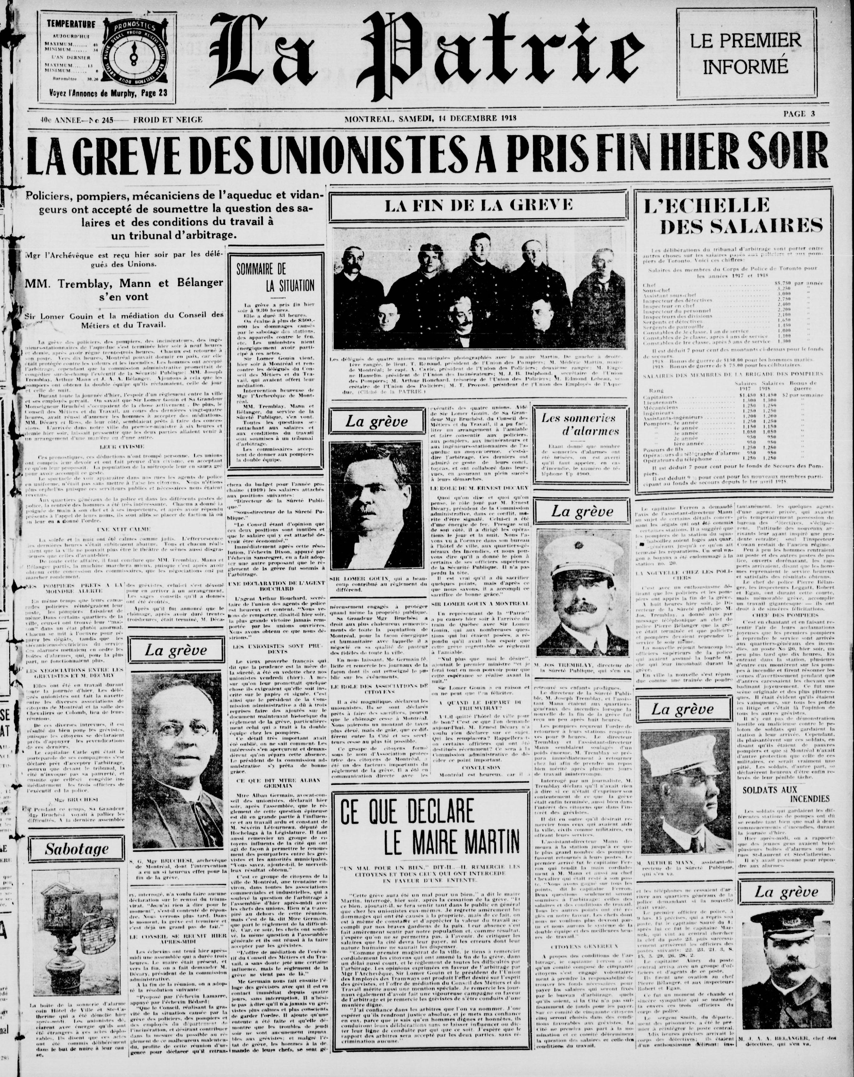 """Une du journal La Patrie du 14 décembre 1918 avec en titre """"La grève des unionistes a pris fin hier soir""""."""