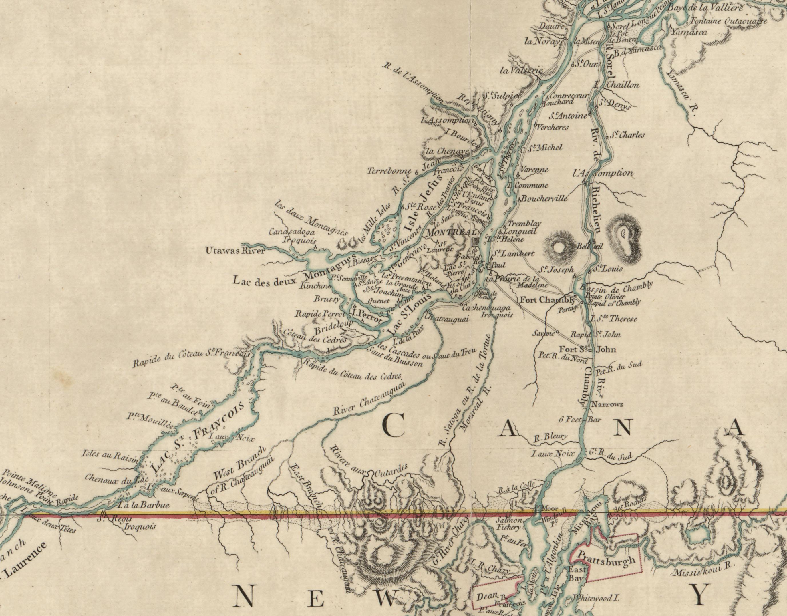 Détail d'une carte de la vallée du Saint-Laurent et des frontières avec New York et la Nouvelle-Angleterre