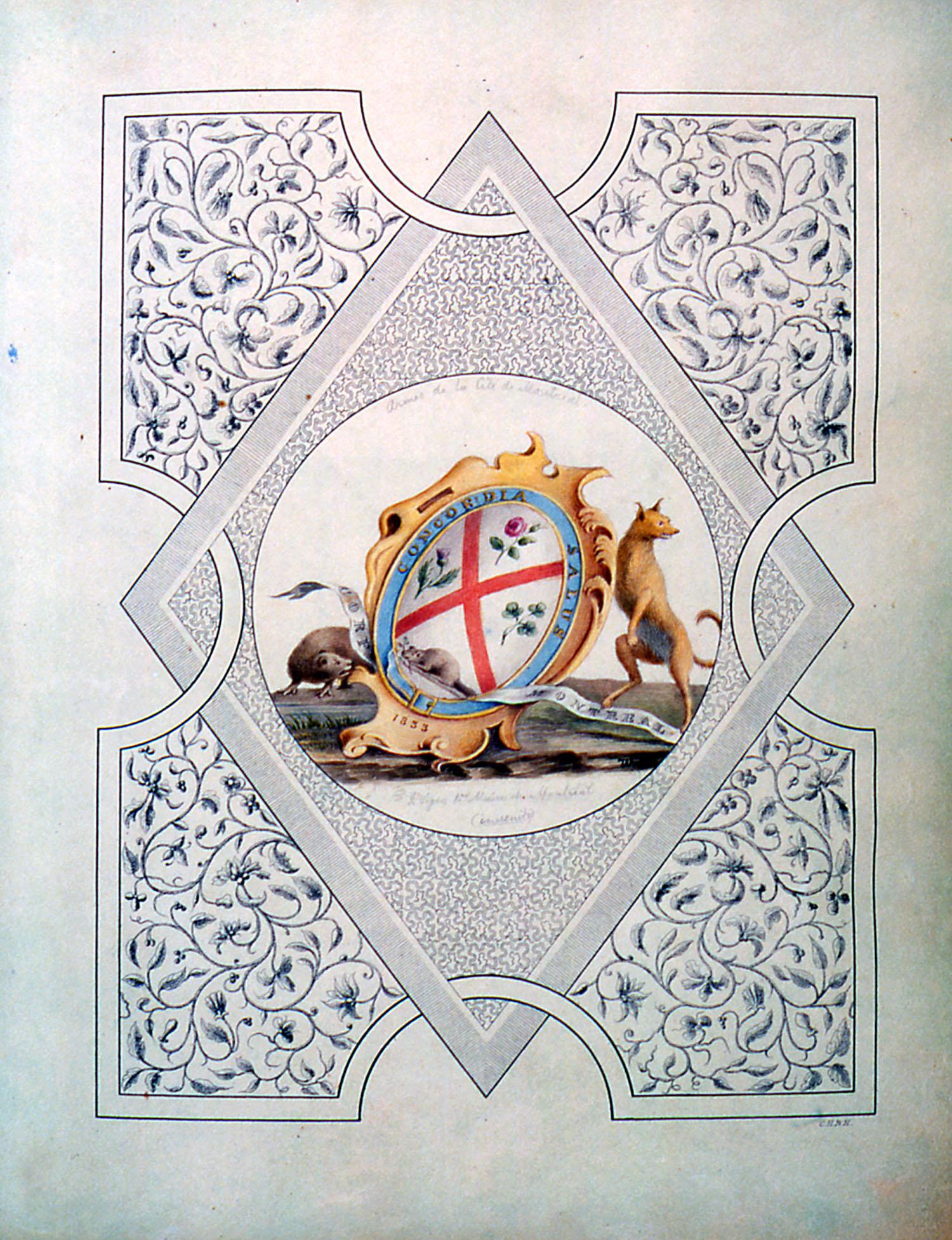 Armoiries de Montréal telles que dessinées par Jacques Viger