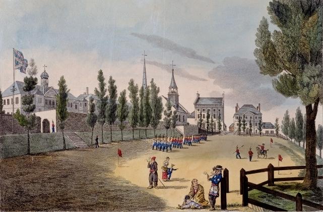 Illustration du Champ-de-Mars animé et bordé d'arbres.