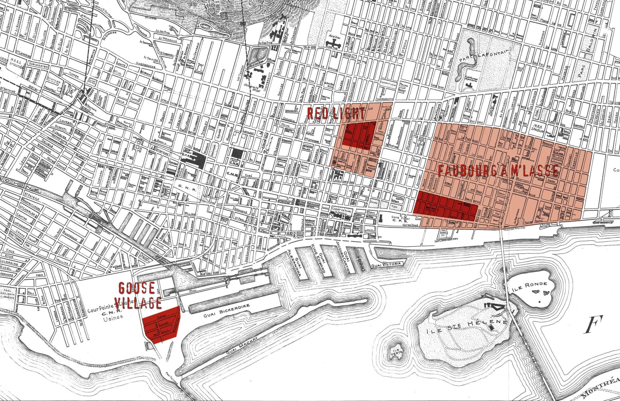 Plan présentant les délimitations des trois quartiers « disparus » (en partie pour le Red Light et le Faubourg à m'lasse).