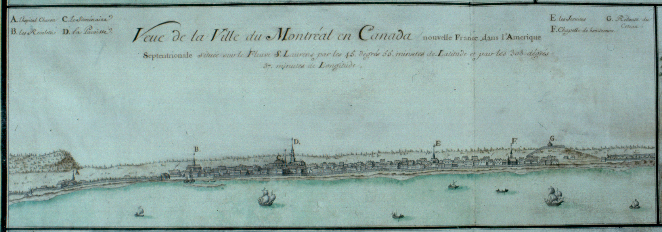 Vue de la ville de Montréal en 1721, avec le fleuve en avant-plan.